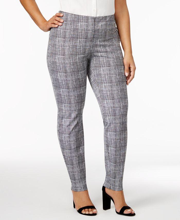 Alfani - Plus Size Graphic-Print Skinny Pants