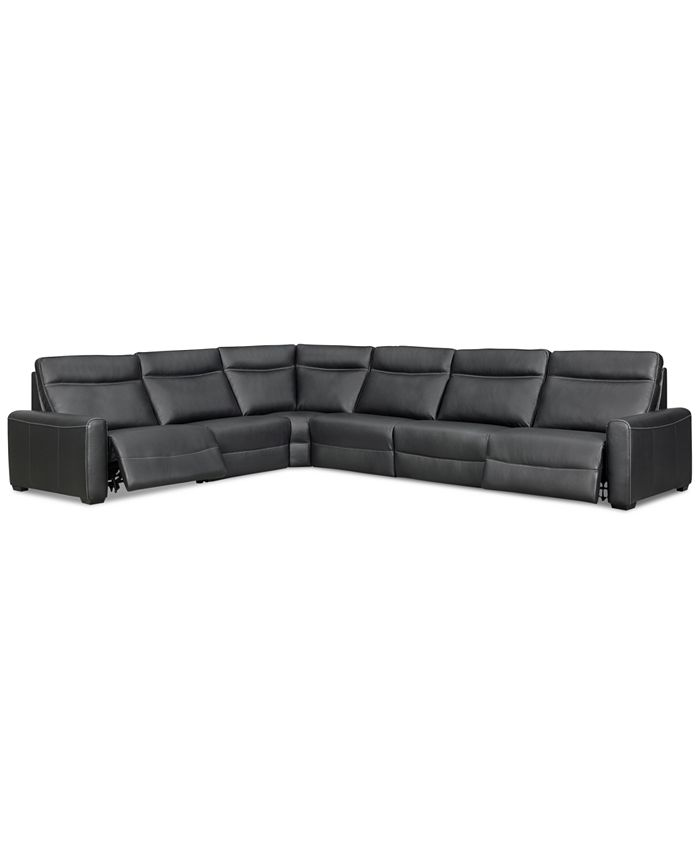 Furniture - Marzia 6-Pc. Leather Sectional with 2 Power Recliners, Only at Macy's
