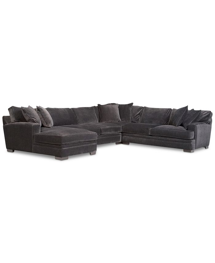 "Furniture - Fabric Sectional Sofa, 4 Piece 148""W x 115""D x 30""H"