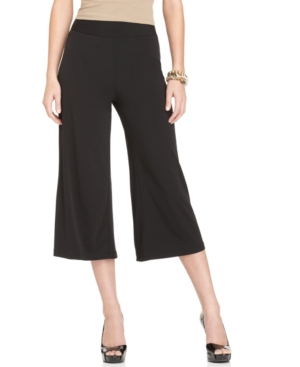 Elementz Pants, Flare Leg Solid Gaucho Capri