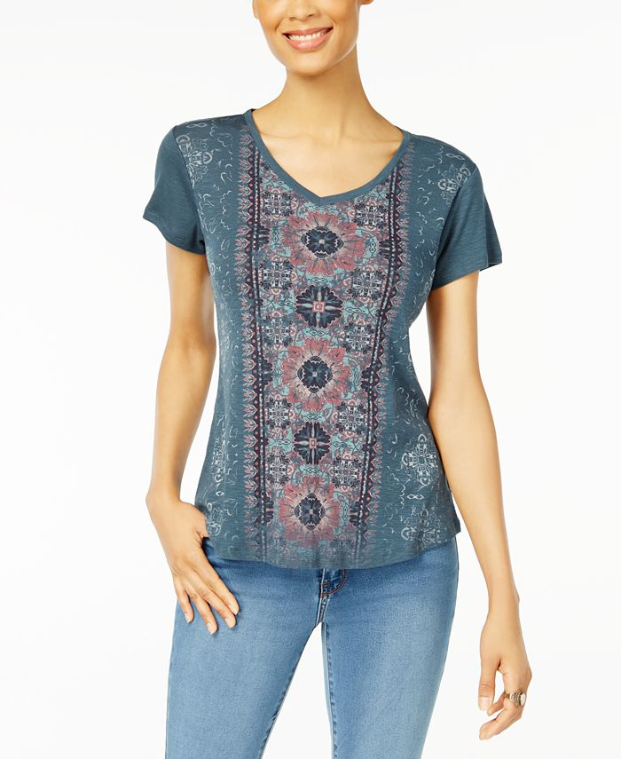Style & Co - Petite Graphic-Print Shirttail T-Shirt
