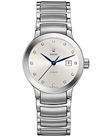 Rado Women's Swiss Centrix Diamond-Accent Automatic Stainless Steel Bracelet Watch 28mm