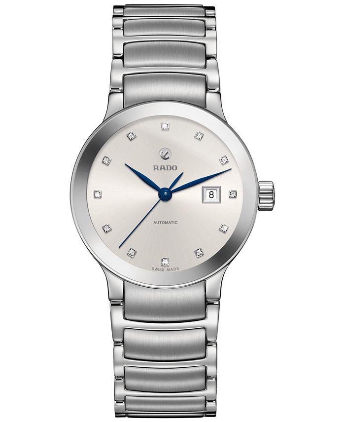 Rado - Women's Swiss Centrix Diamond-Accent Automatic Stainless Steel Bracelet Watch 28mm