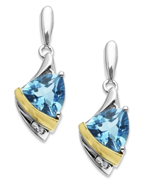14k Gold and Sterling Silver Earrings, Blue Topaz (2-9/10 ct. t.w) and Diamond Accent