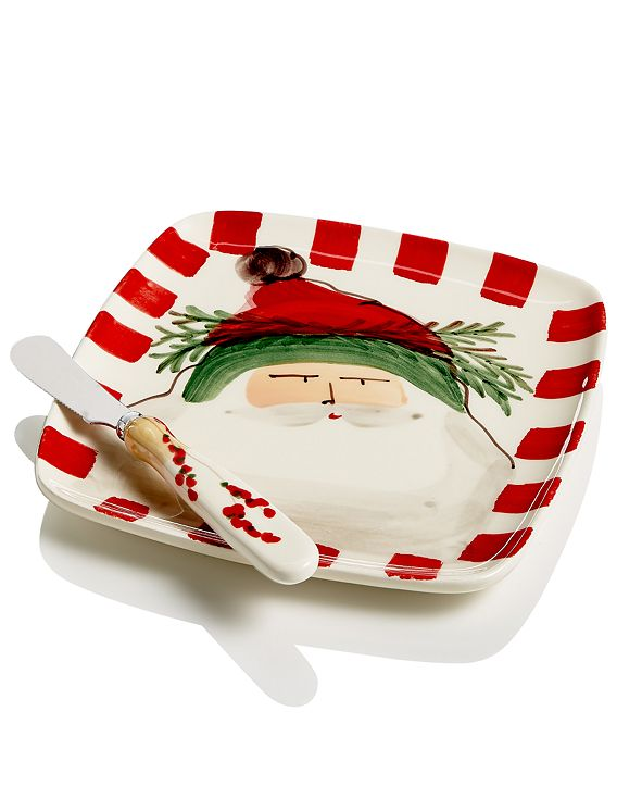 VIETRI Old St. Nick 2-Pc. Square Plate Set With Spreader