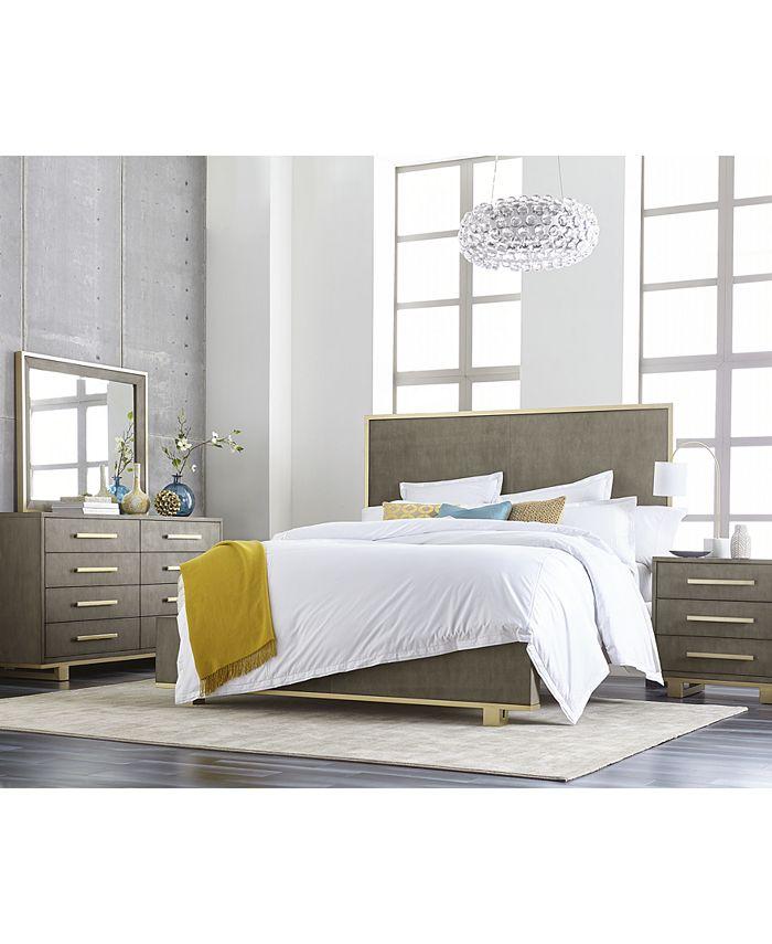Furniture - Petra Shagreen Bedroom , 3-Pc. Set (Queen Bed, Dresser & Nightstand)
