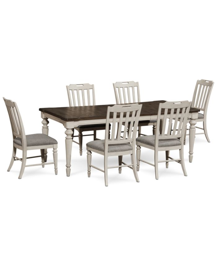 Furniture Barclay Expandable Dining Furniture, 7-Pc. Set (Dining Table & 6 Upholstered Side Chairs) & Reviews - Furniture - Macy's