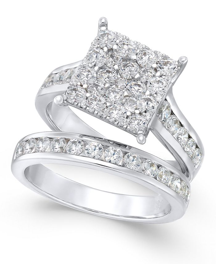 Macy's - Diamond Square Cluster Bridal Set (2 ct. t.w.) in 14k White Gold