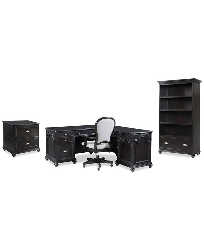 Furniture - Clinton Hill Ebony Home Office  Set, 4-Pc. Set (L-Shaped Desk, Lateral File Cabinet, Open Bookcase & Upholstered Desk Chair), Only at Macy's