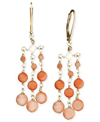 14k Gold Earrings Coral Chandelier