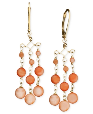 14k Gold Earrings, Coral Chandelier