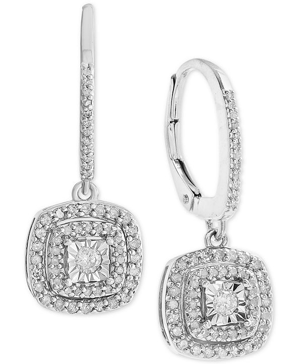 Macy's Diamond Halo Drop Earrings (1/2 ct. t.w.) in Sterling Silver (also available in 14k Rose Gold Sterling Silver & 14k Gold Sterling Silver.)