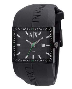 A|X Armani Exchange Watch, Men's Black Silicone Strap AX1128