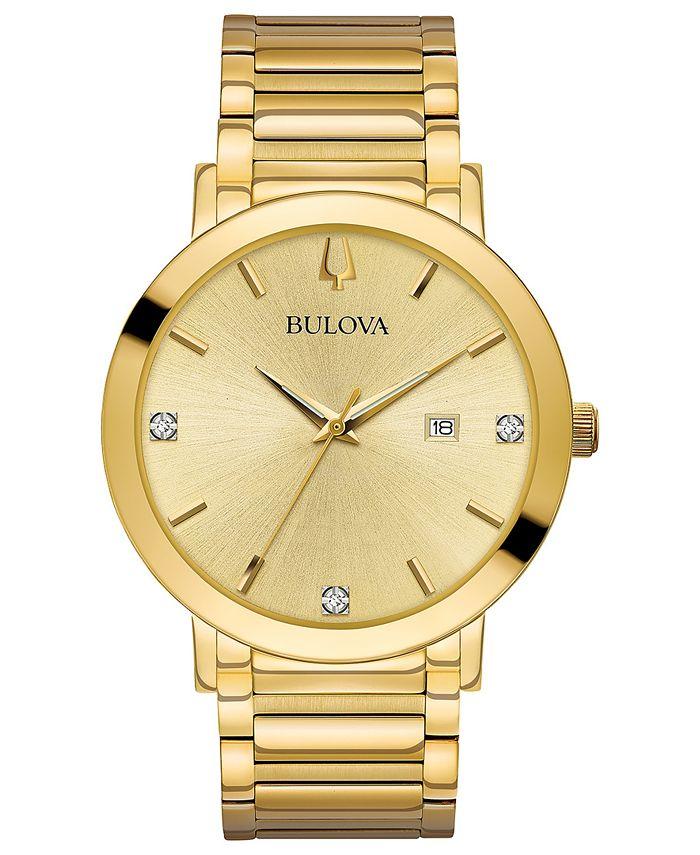 Bulova - Men's Diamond Dress Diamond-Accent Gold-Tone Stainless Steel Bracelet Watch 42mm