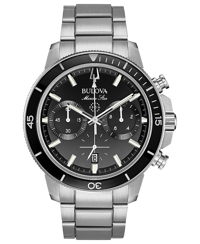 Bulova - Men's Chronograph Marine Star Stainless Steel Bracelet Watch 45mm