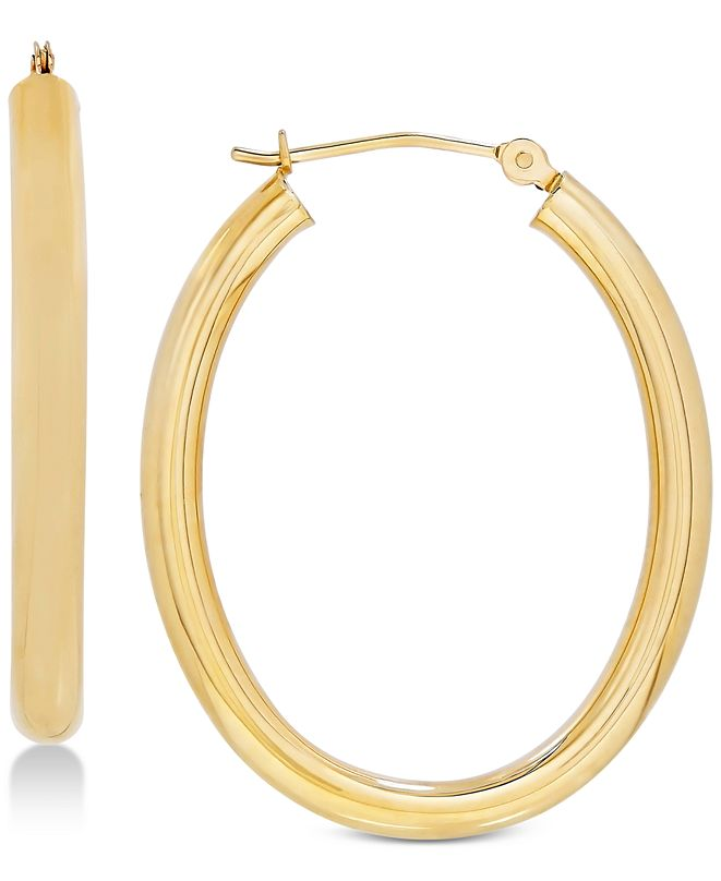 Italian Gold Polished Oval Hoop Earrings in 14k Gold or White Gold