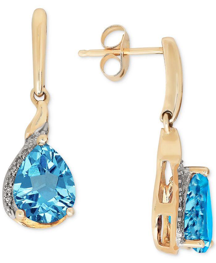 Macy's - Blue Topaz(2-3/8 ct. t.w.) & Diamond Accent Drop Earrings in 14k Gold