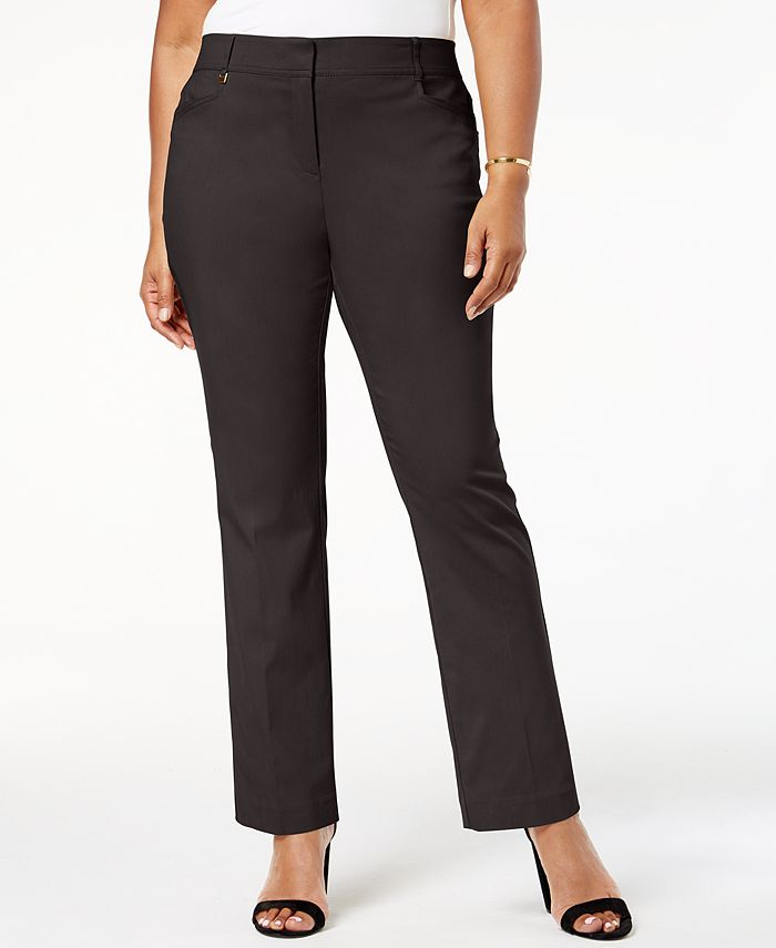 JM Collection - Plus Size Slim Leg Pants