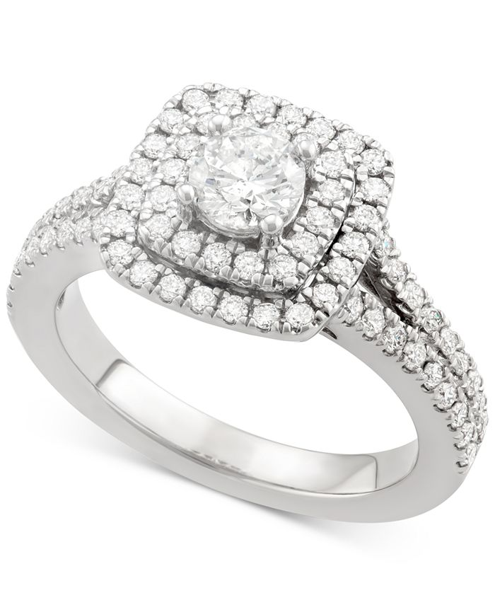Marchesa - Certified Diamond Square Frame Ring (1-1/4 ct. t.w.) in 18k White Gold