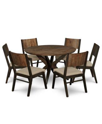 Ashton Round Pedestal Dining Furniture, 7-Pc. Set (Round Pedestal Dining Table & 6 Side Chairs)