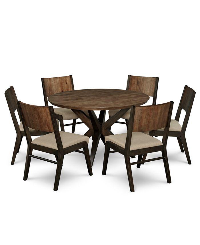 Furniture Ashton Round Pedestal Dining Furniture 7 Pc Set Round Pedestal Dining Table 6 Side Chairs Reviews Furniture Macy S