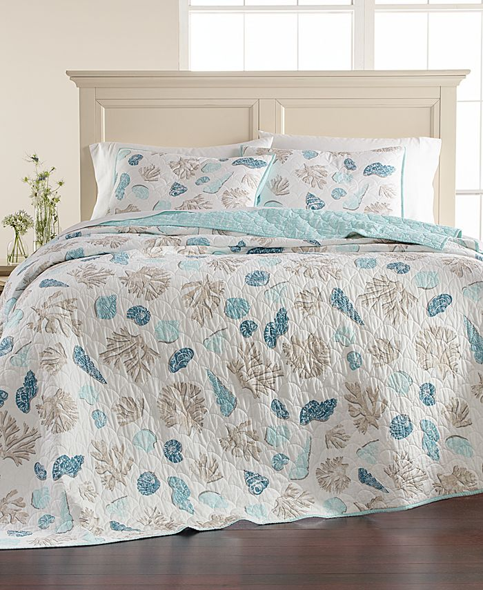 Martha Stewart Collection - Beach Finds Reversible Cotton Full/Queen Quilt