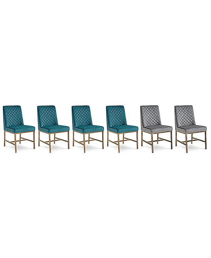 Furniture - Cambridge Dining Chair 6-Pc. Set (Teal & Grey Side Chairs)