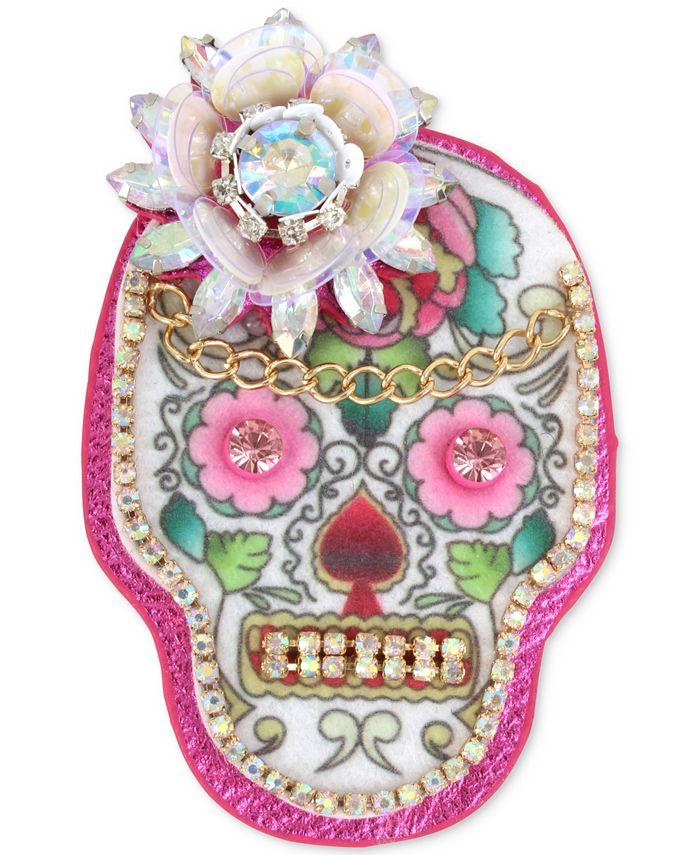 Betsey Johnson - Gold-Tone Multi-Stone Sugar Skull Pin