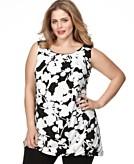 Alfani Plus Size Top, Sleeveless Printed Tunic