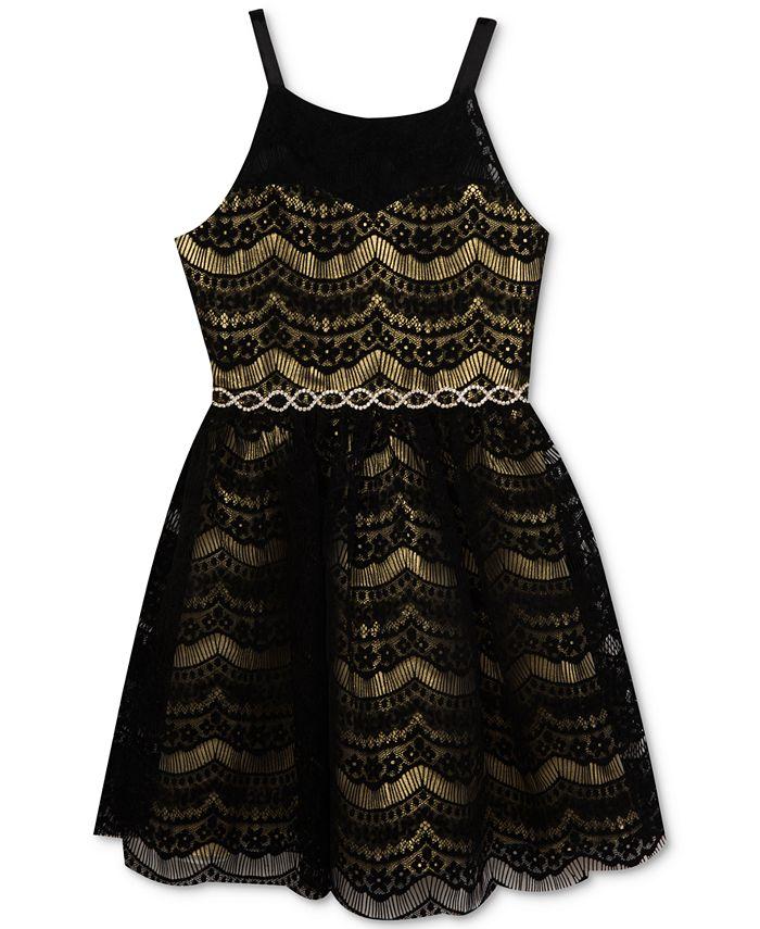 Rare Editions - Metallic Lace Party Dress, Big Girls (7-16)