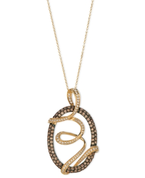 Le Vian 14k Gold Necklace, Chocolate Diamond and White Diamond Oval Wrap Pendant (1-3/4 ct. t.w.)