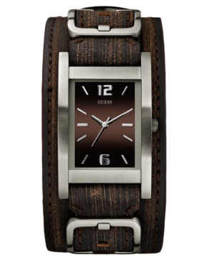 GUESS Watch, Men's Brown Leather Cuff Bracelet 32x40mm G66391G