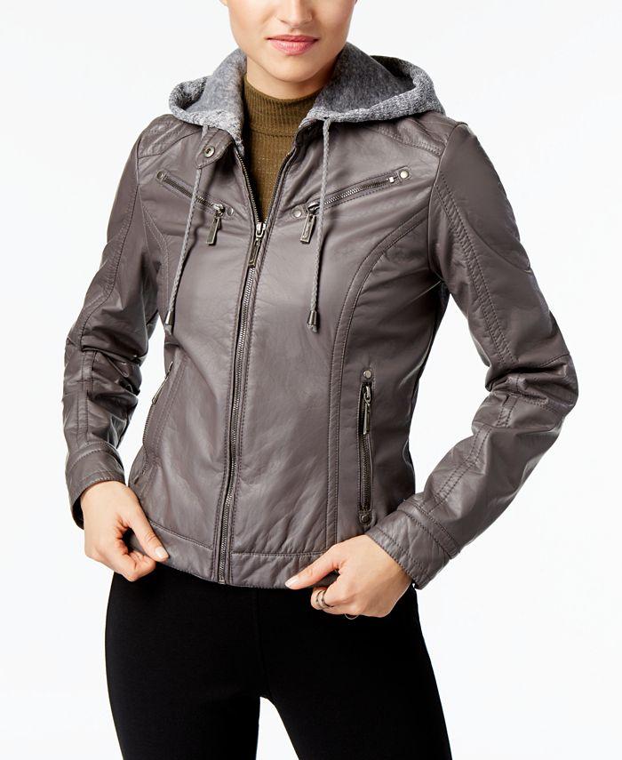 Jou Jou - Faux-Leather Knit-Hood Jacket