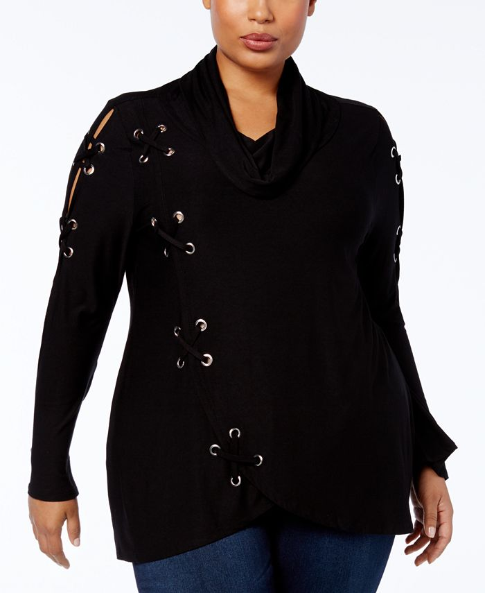 Belldini - Plus Size Cowl-Neck Grommet Top