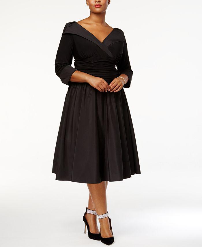Jessica Howard - Plus Size Dress, Three Quarter Sleeve Portrait Collar A-Line