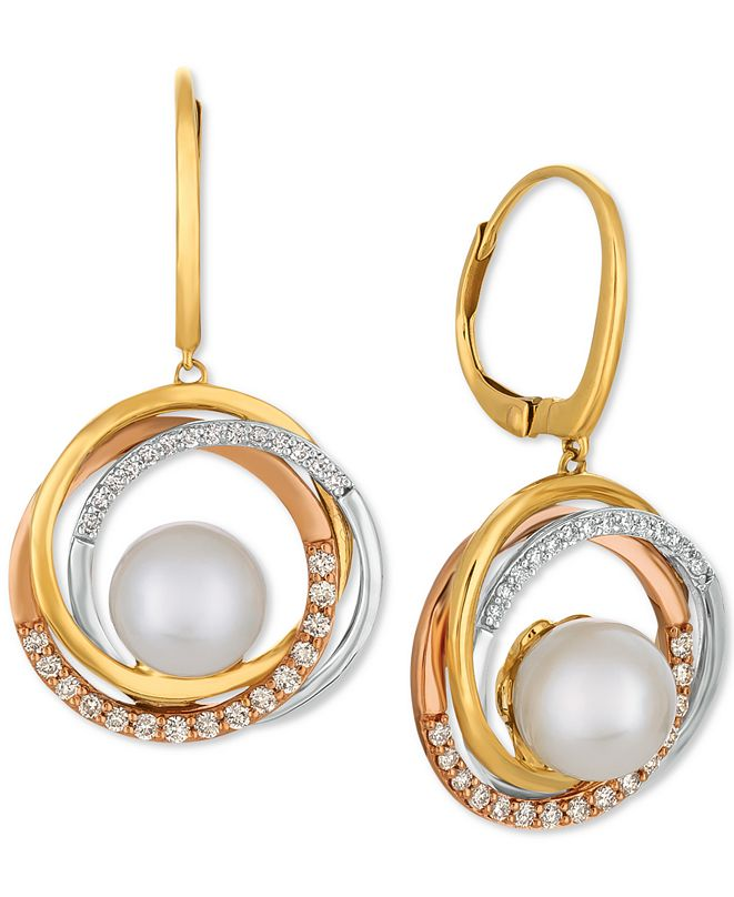Le Vian Cultured Freshwater Pearl (9mm) & Diamond (3/8 ct. t.w.) Drop Earrings in 14k Gold, White Gold & Rose Gold