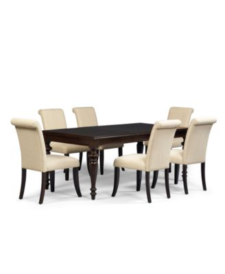 dining room furniture 9 piece set table and 8 upholstered chairs
