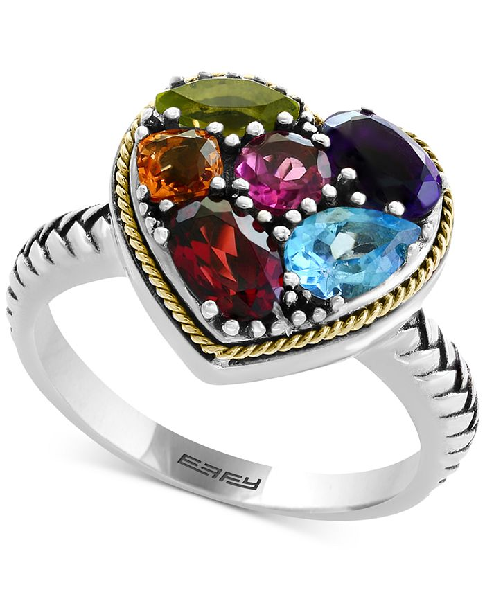 EFFY Collection - Multi-Gemstone Two-Tone Heart Ring (2-1/6 ct. t.w.) in Sterling Silver & 18k Gold