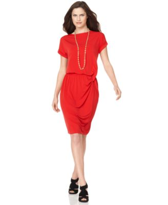 Ellen Tracy Dress, Cuffed Short Sleeve Blouson