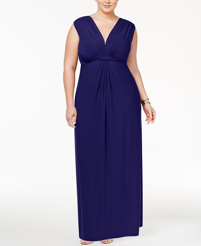 Love Squared - Plus Size Sleeveless Knotted Maxi Dress