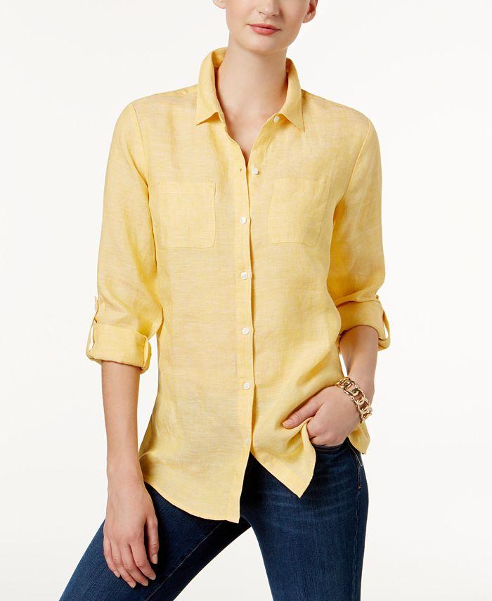 Charter Club - Petite Linen Utility Shirt