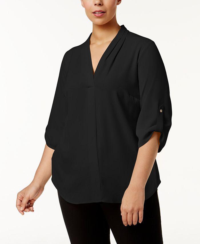 Calvin Klein - Plus Size Pleated-Neck Blouse