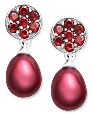 Fresh by Honora Pearl Earrings, Sterling Silver Red Cultured Freshwater Pearl (7-7-1/2 mm) and Garnet Accent Drop