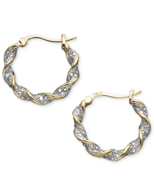 Victoria Townsend 18k Gold Over Sterling Silver Earrings, Diamond Accent Twist Hoop
