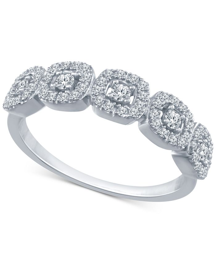 Macy's - Diamond Halo Cluster Ring (1/4 ct. t.w.) in 10k Gold or White Gold