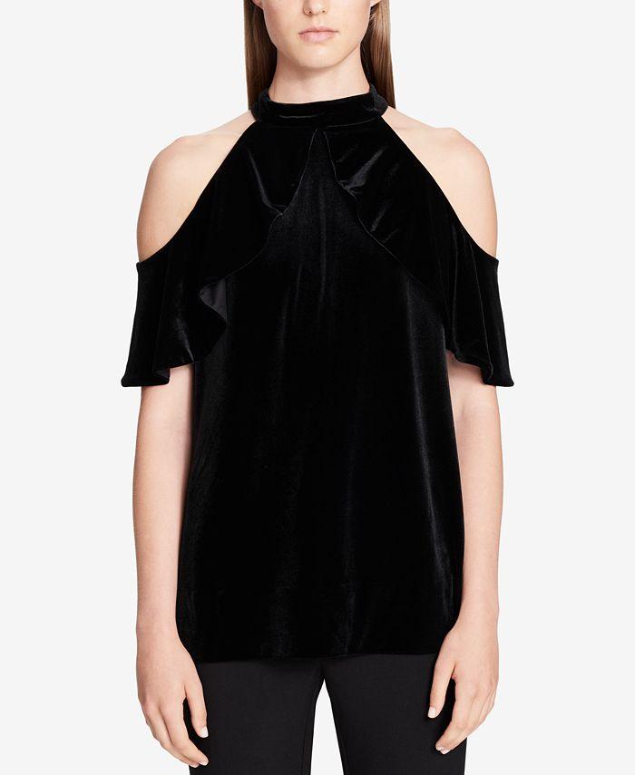 Calvin Klein - Velvet Cold-Shoulder Top