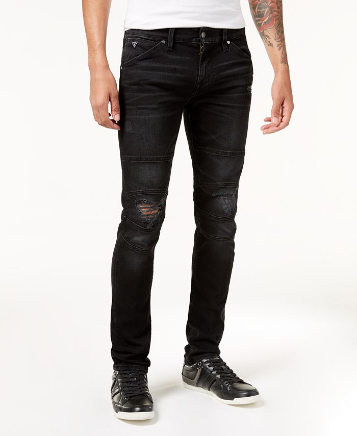 GUESS - Men's Slim-Fit Tapered Stretch Destroyed Moto Jeans