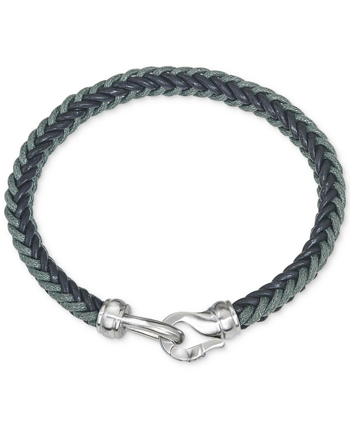 Esquire Men's Jewelry - Woven Leather Bracelet in Stainless Steel