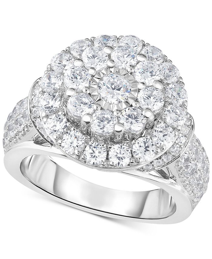 TruMiracle - Diamond Double Halo Engagement Ring (3 ct. t.w.) in 14k White Gold