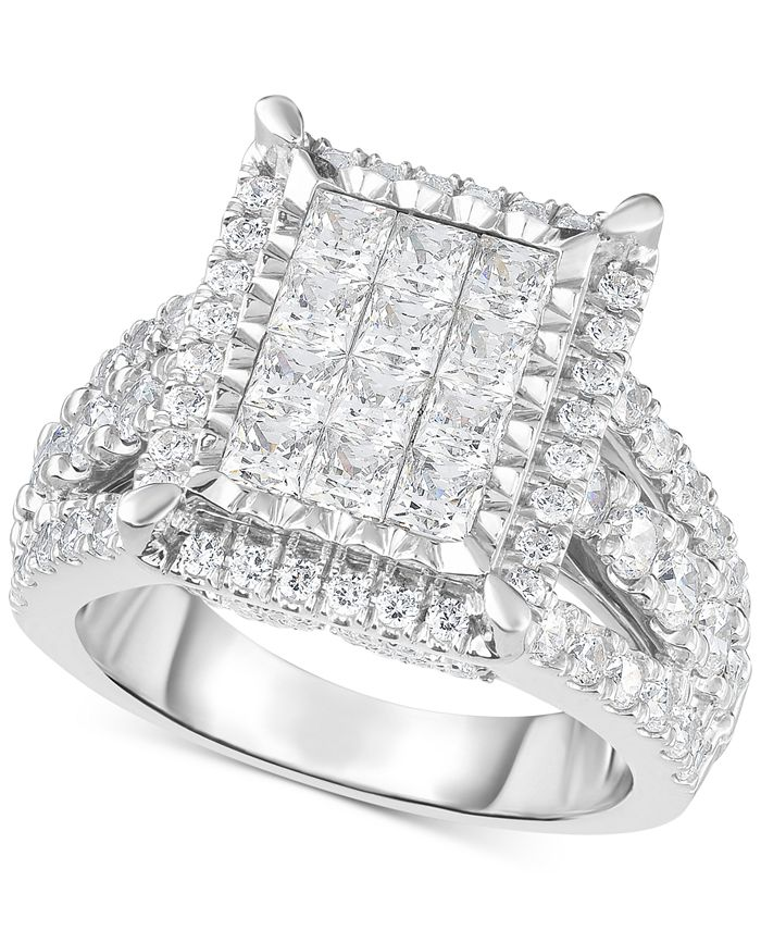 TruMiracle - Diamond Square Halo Cluster Ring (3 ct. t.w.) in 14k White Gold